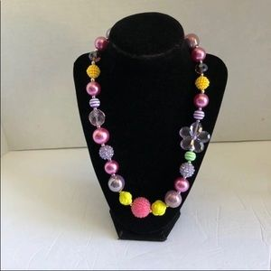 "Chunky Bubble Necklace 20"" Pink, purple,yellow"